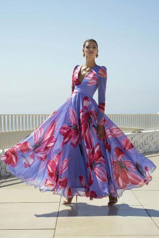 Vestido fiesta largo estampado floral