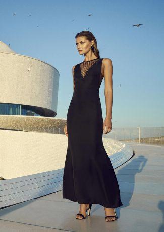 Vestido fiesta negro adornos paillettes