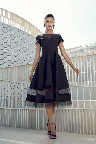 Vestido fiesta capa negro tul