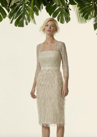 Vestido fiesta con falda jacquard desflecado