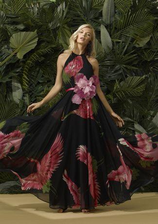 Vestido fiesta estampado aves con adorno floral